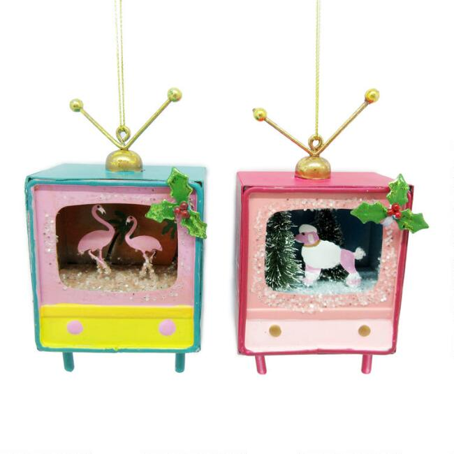 Metal Television Ornaments Set of 2