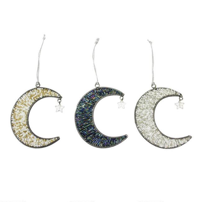 Beaded Metal Moon with Star Ornaments Set of 3