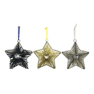 Beaded Metal Star with Gem Ornaments Set of 3