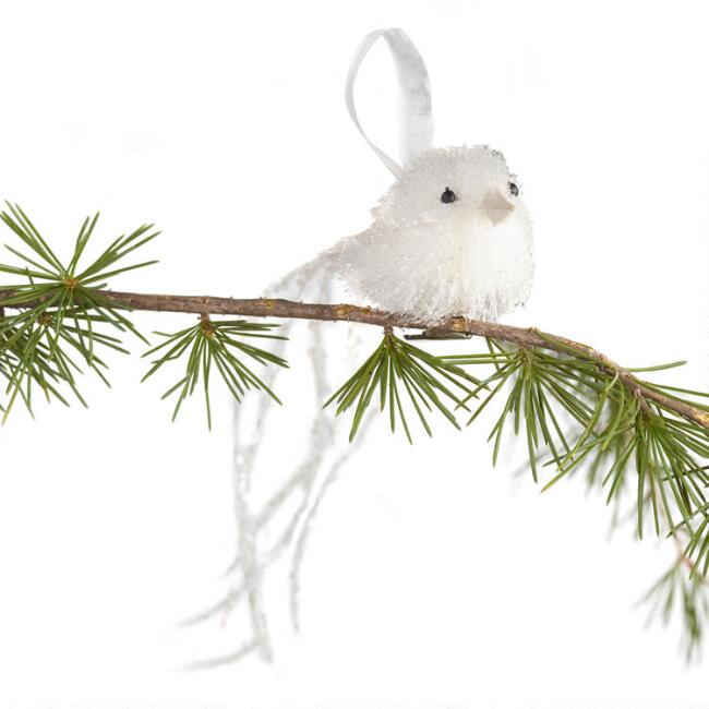 White Bird with Glitter Tail Ornament