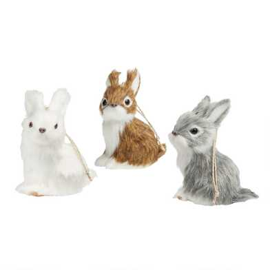 Faux Fur Rabbit Ornaments Set of 3