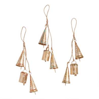 Gold Metal Bell Cluster Ornaments Set of 3