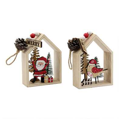 Wood Santa and Bird Scene Ornaments Set of 2