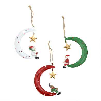 Christmas Characters with Moon and Star Ornaments Set of 3