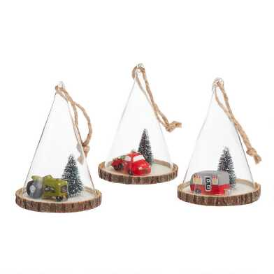 Glass Tree and Vehicle Cloche Ornaments Set of 3