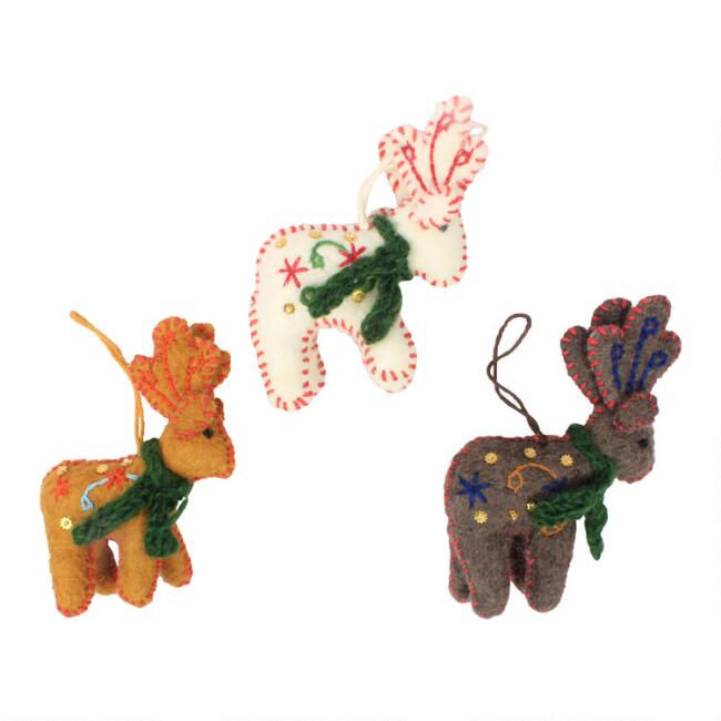 Felted Wool Reindeer with Scarf Ornaments Set of 3