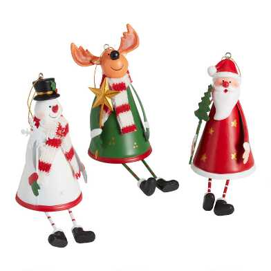 Metal Dangle Leg Holiday Character Ornaments Set of 3