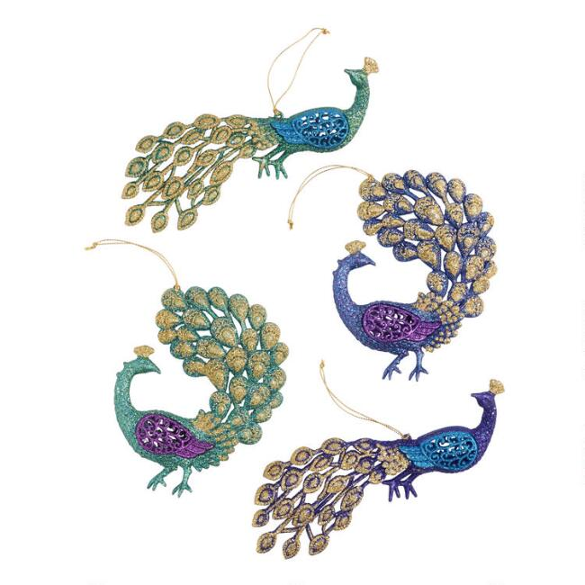 Purple and Green Glitter Peacock Ornaments Set of 4