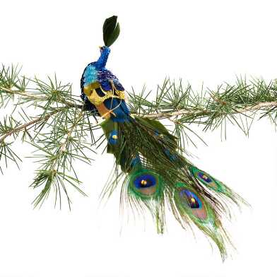 Sequined Peacock with Feathers Ornament