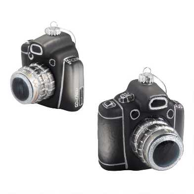 Black Glass Retro Camera Ornament