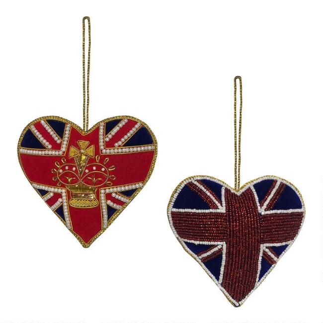 Beaded British Icon Heart Ornaments Set of 2