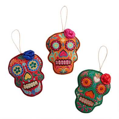 Fabric Day of the Dead Skull with Flower Ornaments Set of 3