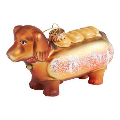 Glittered Glass Hot Dog Dachshund Ornament