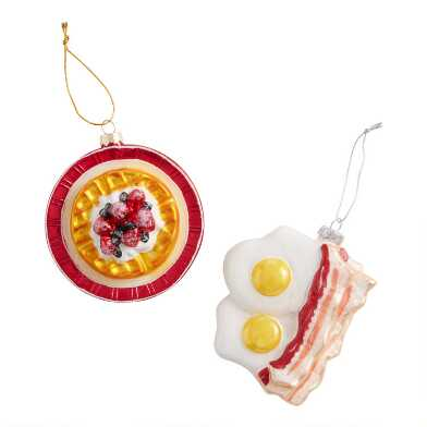 Glass Breakfast Ornaments Set of 2