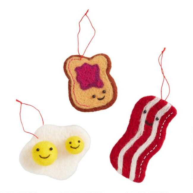 Felted Wool Breakfast Ornaments Set of 3