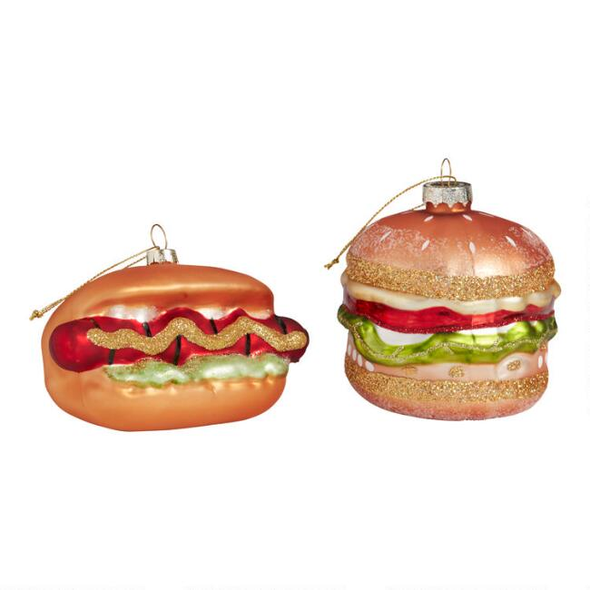 Glass Burger and Hot Dog Ornaments Set of 2