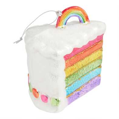 Glass Rainbow Cake Ornament