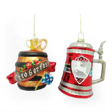 Glass Beer Stein and Keg Ornaments Set of 2