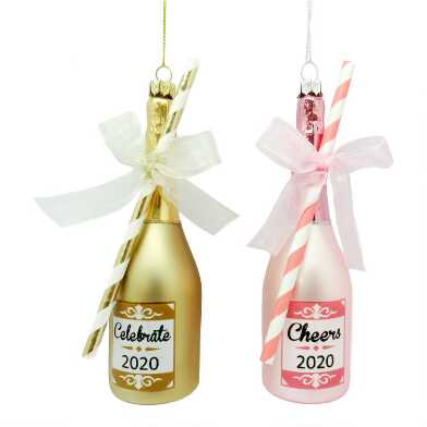 Pink and Gold Glass Champagne Bottle Ornaments Set of 2