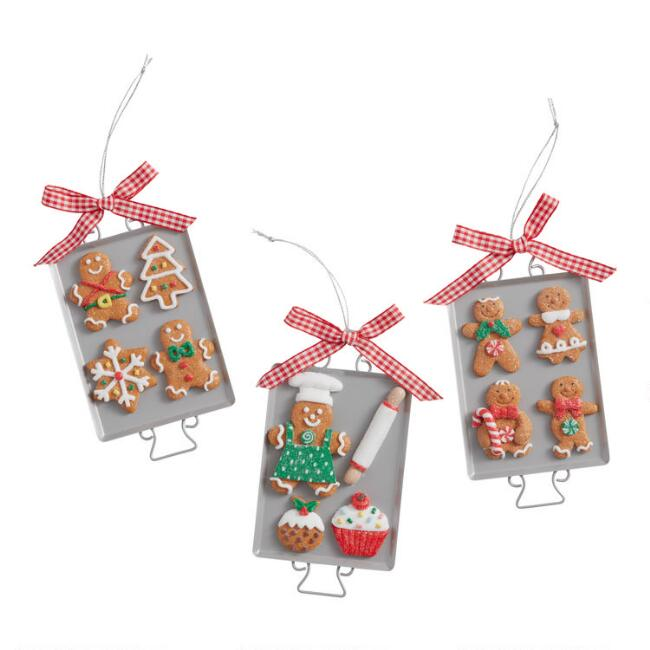 Christmas Cookie Sheet with Bow Ornaments Set of 3