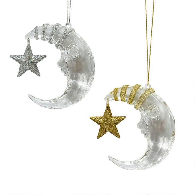 Silver and Gold Crescent Moon with Star Ornaments Set of 2