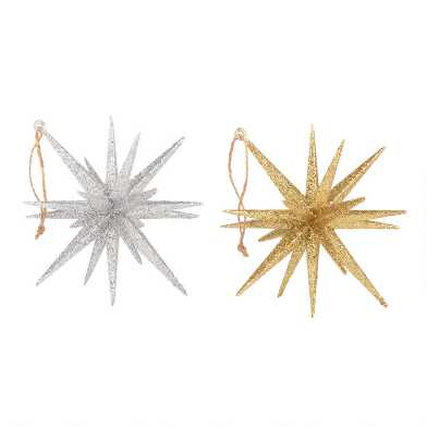 Glittered Silver and Gold 18 Point Star Ornaments Set of 2