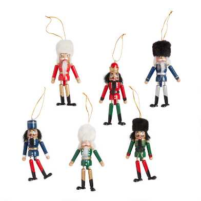 Multicolor Wood Dangle Leg Nutcracker Ornaments Set of 6