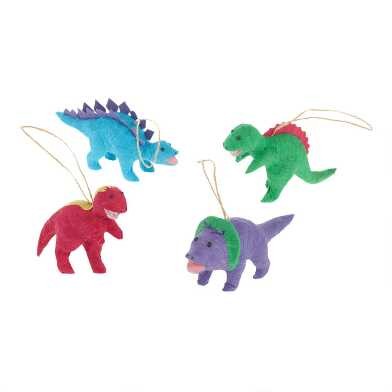 Colorful Paper Dinosaur Ornaments Set of 4
