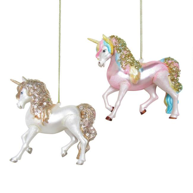 Glittered Glass Unicorn Ornaments Set Of 2