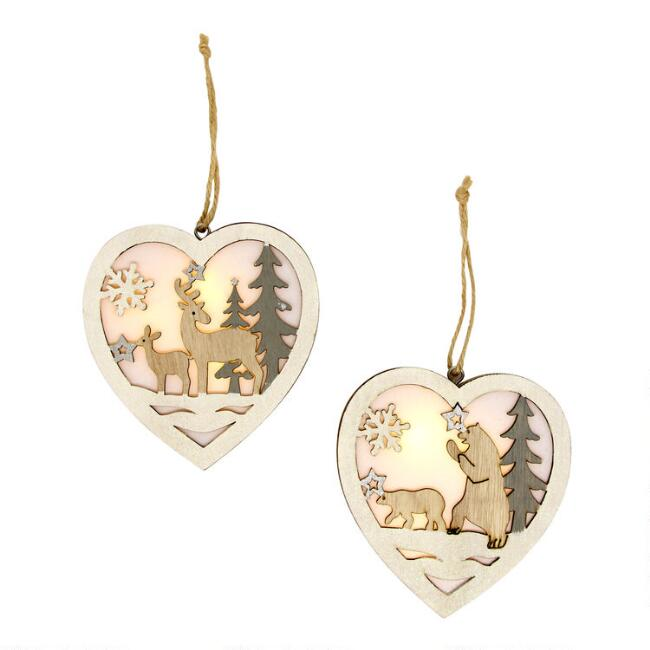 Arctic Scene Heart LED Light Up Ornaments Set of 2