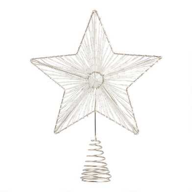 Beaded Metal Star with Gems Tree Topper