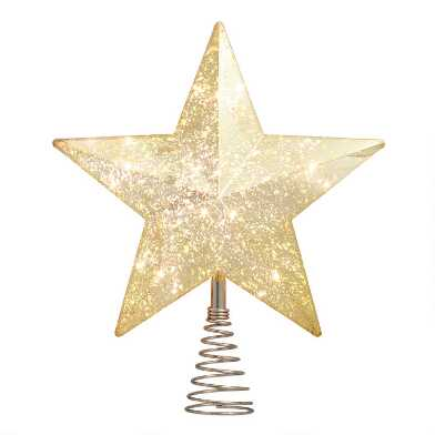 Vintage Gold Faceted Star Light Up Tree Topper