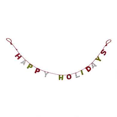 Felted Wool Happy Holidays Garland with Bells