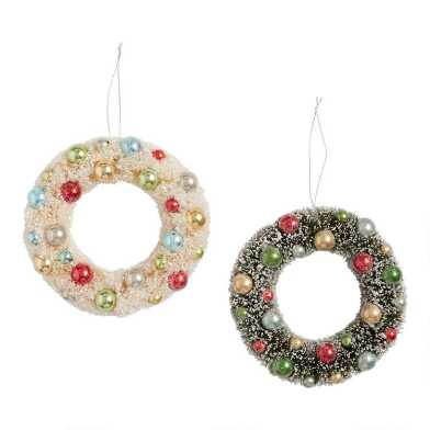 Retro Snowy Bottlebrush Wreaths Set of 2