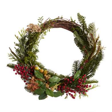 Faux Forest Greens and Berries Wreath