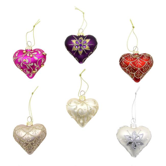 3 Pack Glittered Glass Hearts Boxed Ornaments Set Of 2