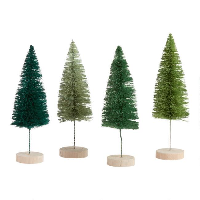 Green Bottlebrush Trees Set of 4