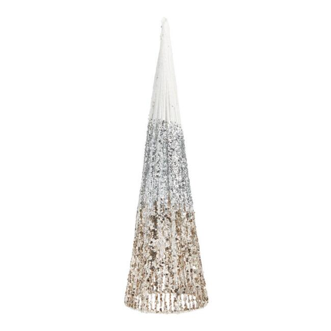 Glittered Cone Tabletop Tree