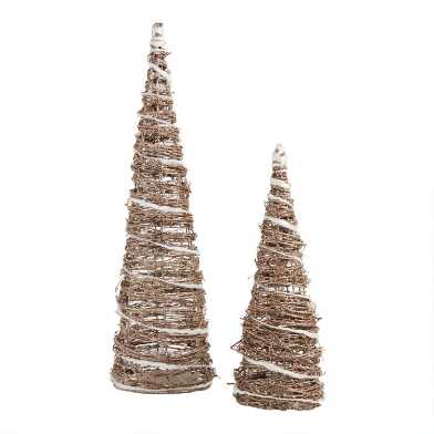Glittered Cone Tabletop Tree Collection