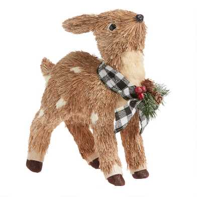 Natural Fiber Deer with Greenery and Gingham Bow