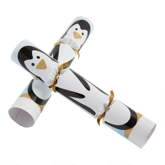 Black and White Racing Penguin Crackers 6 Count