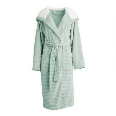 Jade Ribbed Fleece Robe with Hood