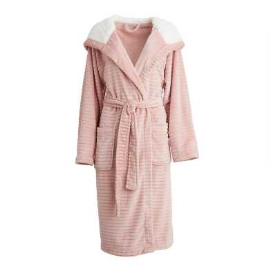 Blush Ribbed Fleece Robe with Hood