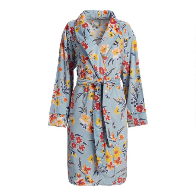 Blue Highgarden Floral Microfleece Tamara Robe