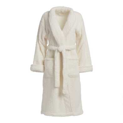 White Faux Sherpa Robe