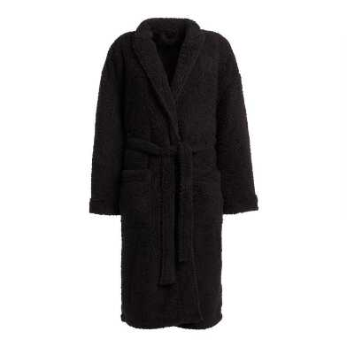 Black Faux Sherpa Men's Robe