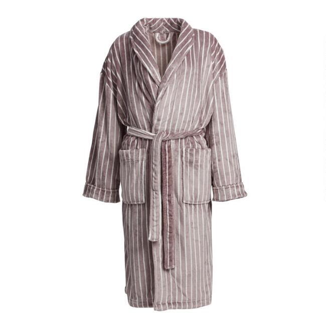 Gray and White Stripe Fleece Men's Robe