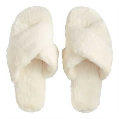 Ivory Faux Fur Crisscross Slippers