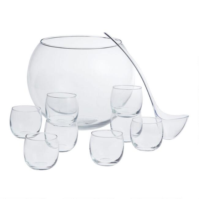 Punch Bowl and Glasses 10 Piece Set
