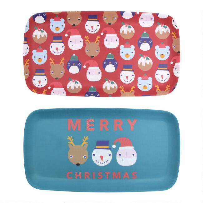 Holiday Polka Dot Pals Bamboo Fiber Serving Trays Set of 2